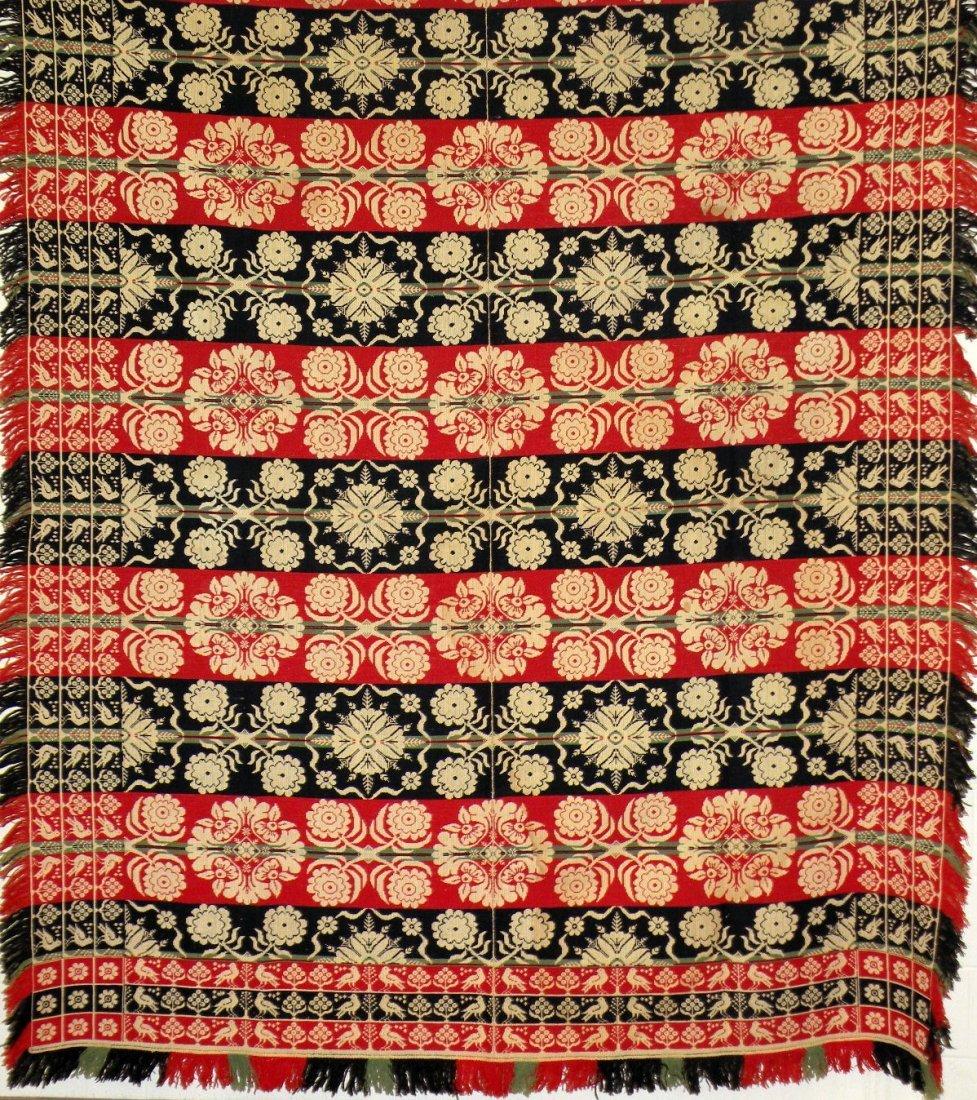 558: Triple bird border jacquard pattern coverlet