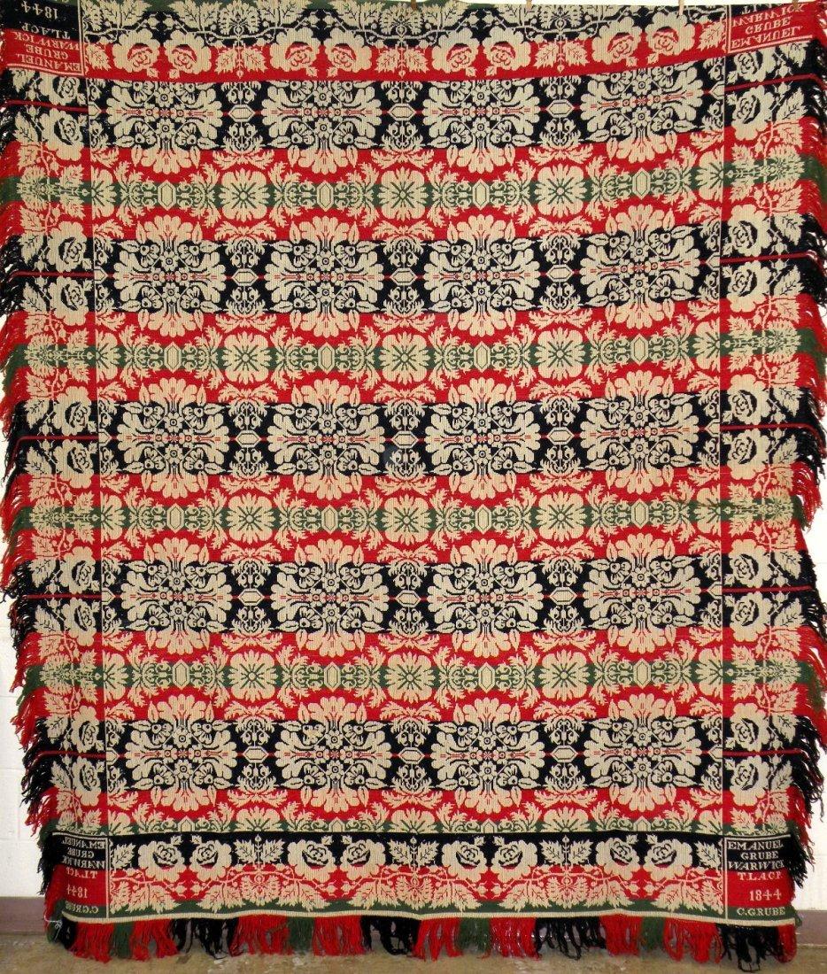 559: Emanuel Grube jacquard pattern coverlet