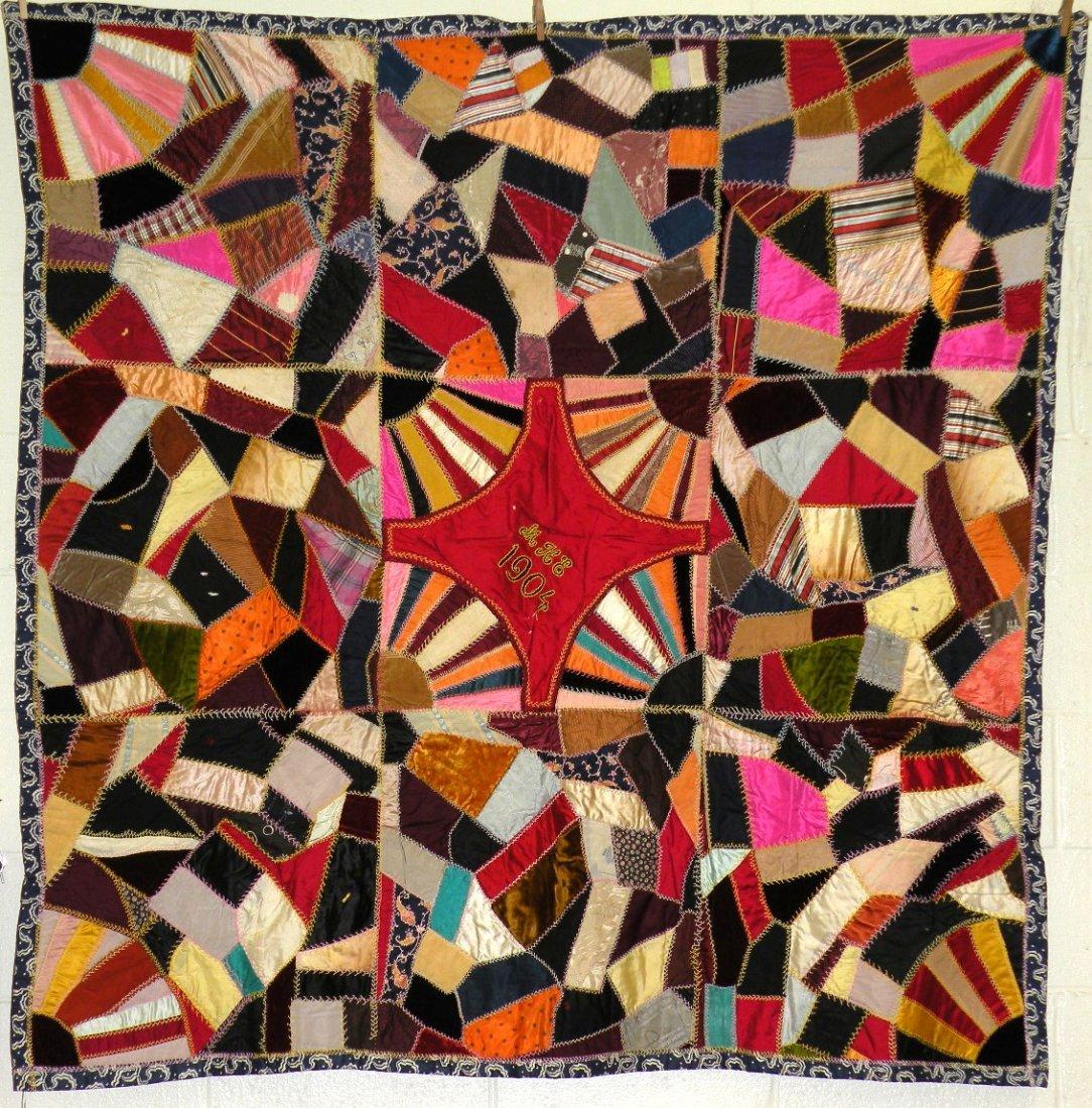 562: Silk pieced crazy quilt