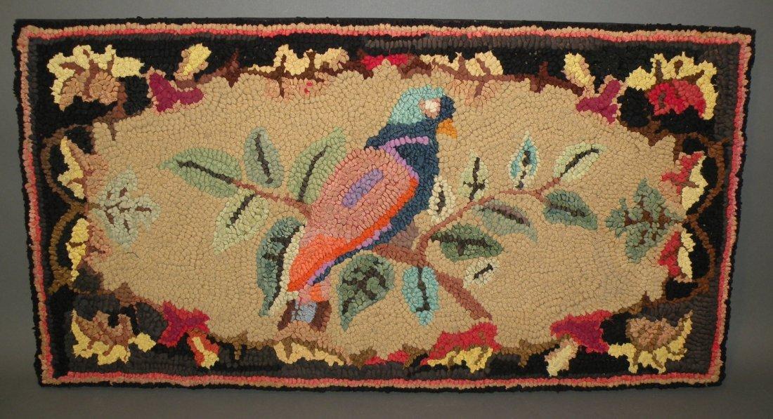 569: Parrot & floral hooked rug
