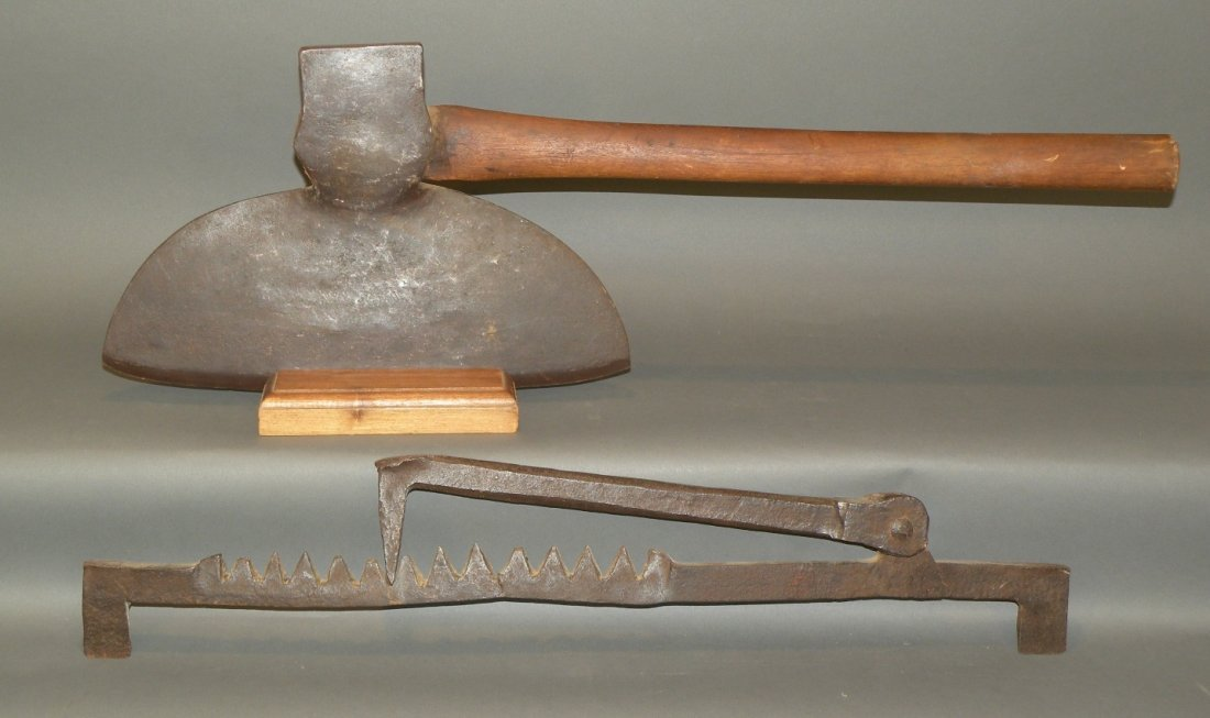 2 hand wrought log hewing tools