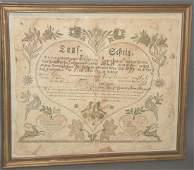 Framed 1799 Ephrata PA Baumann taufschein