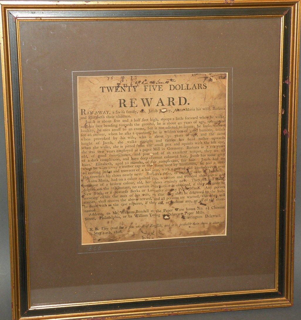 Framed 1806 Delaware paper mills broadside