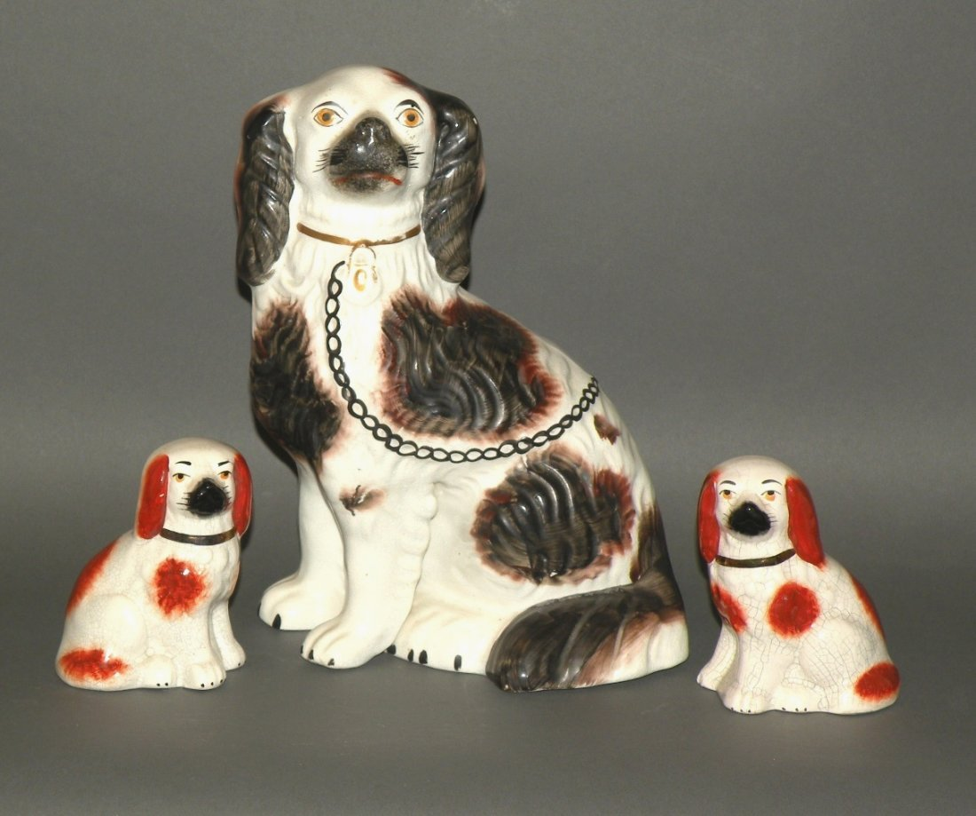 3 Staffordshire dogs