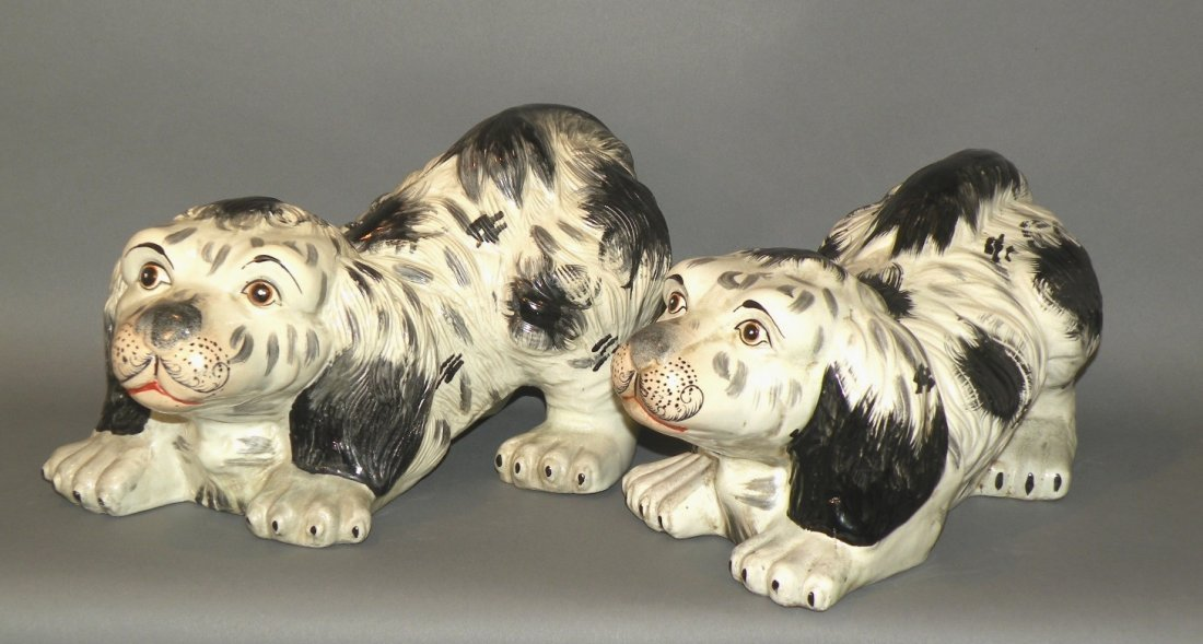 Pair of Staffordshire type dogs