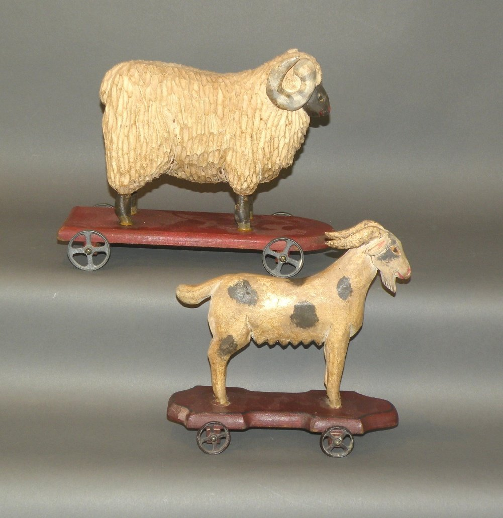 2 Shrode folk art animal pull toys