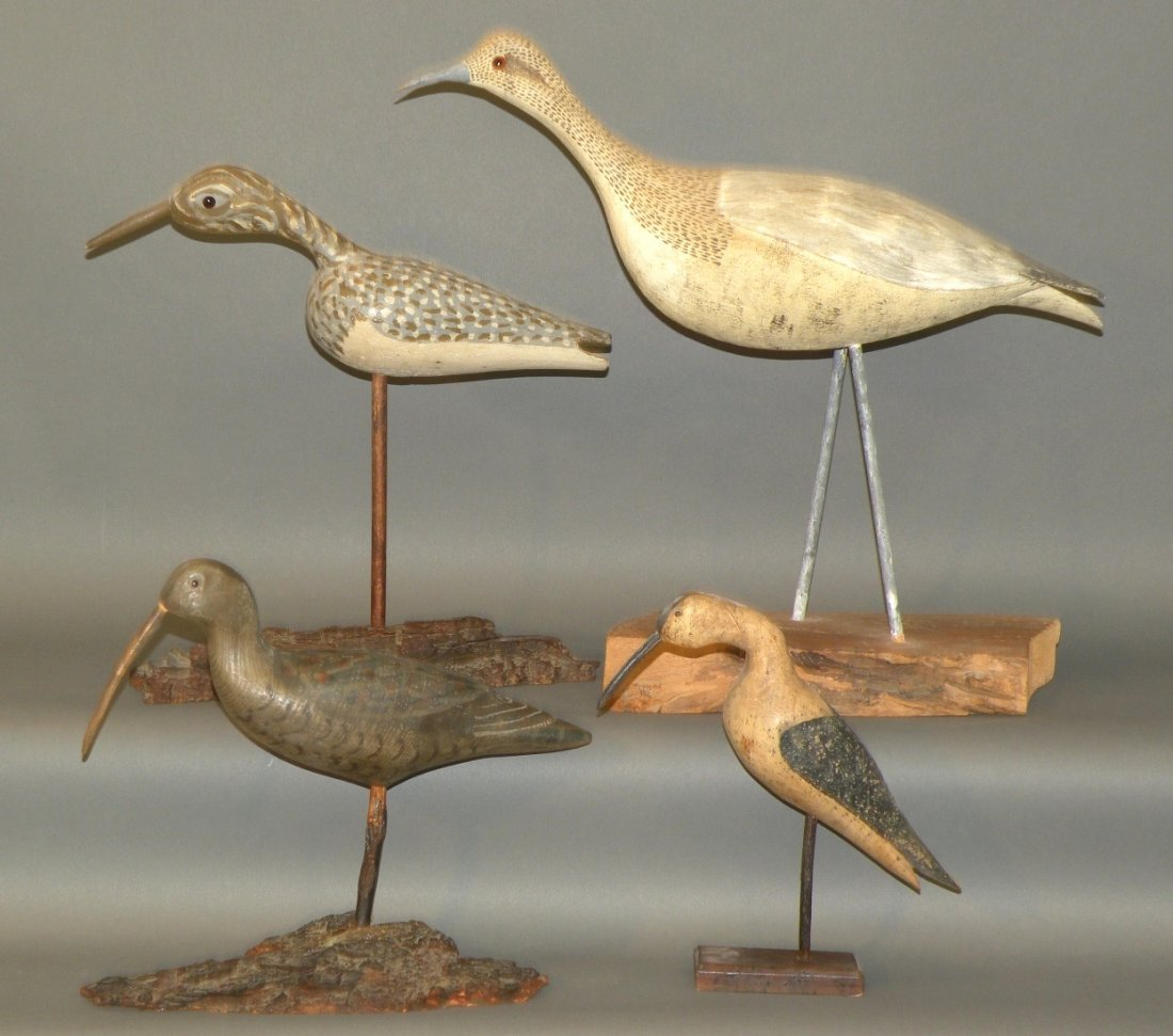 4 shorebird carvings