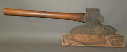 Broad axe with wooden sheath