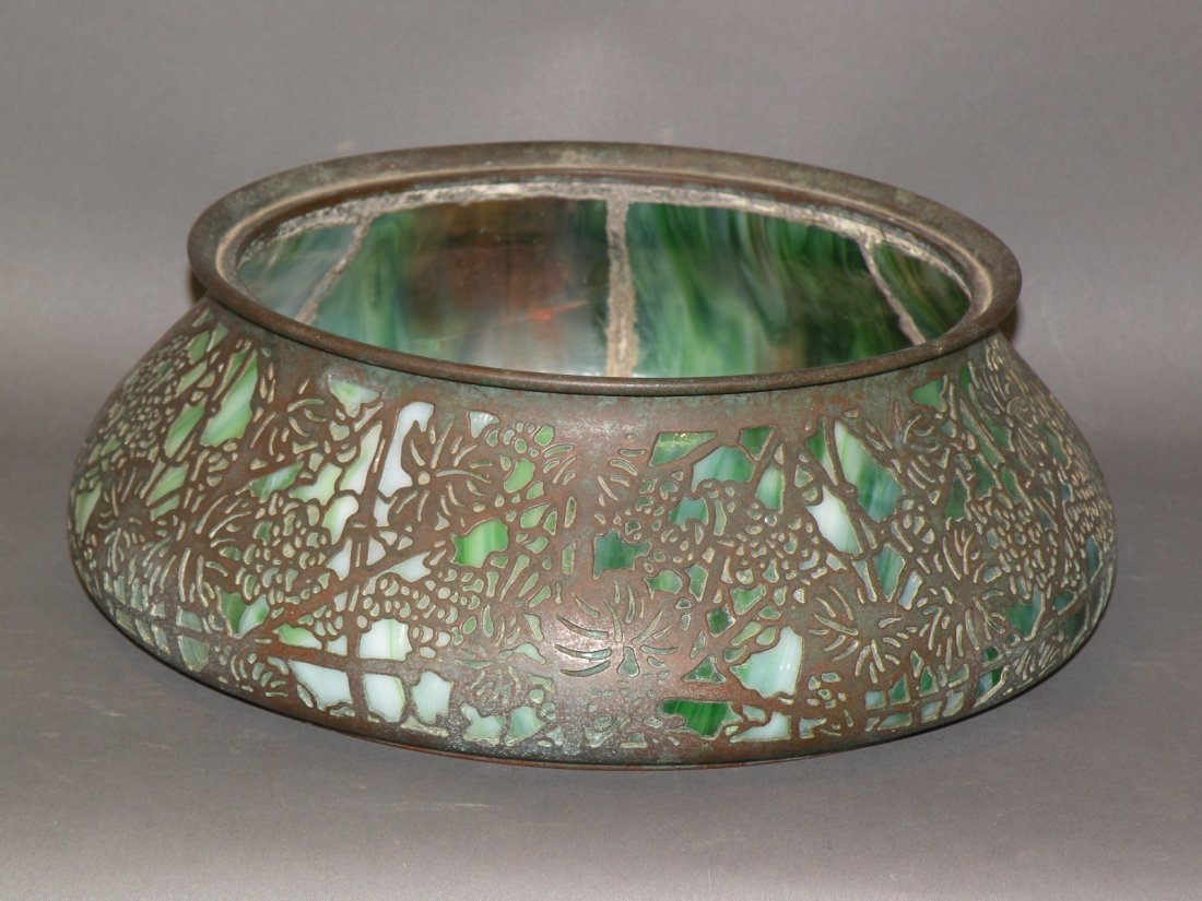 Tiffany Favrile glass and copper planter