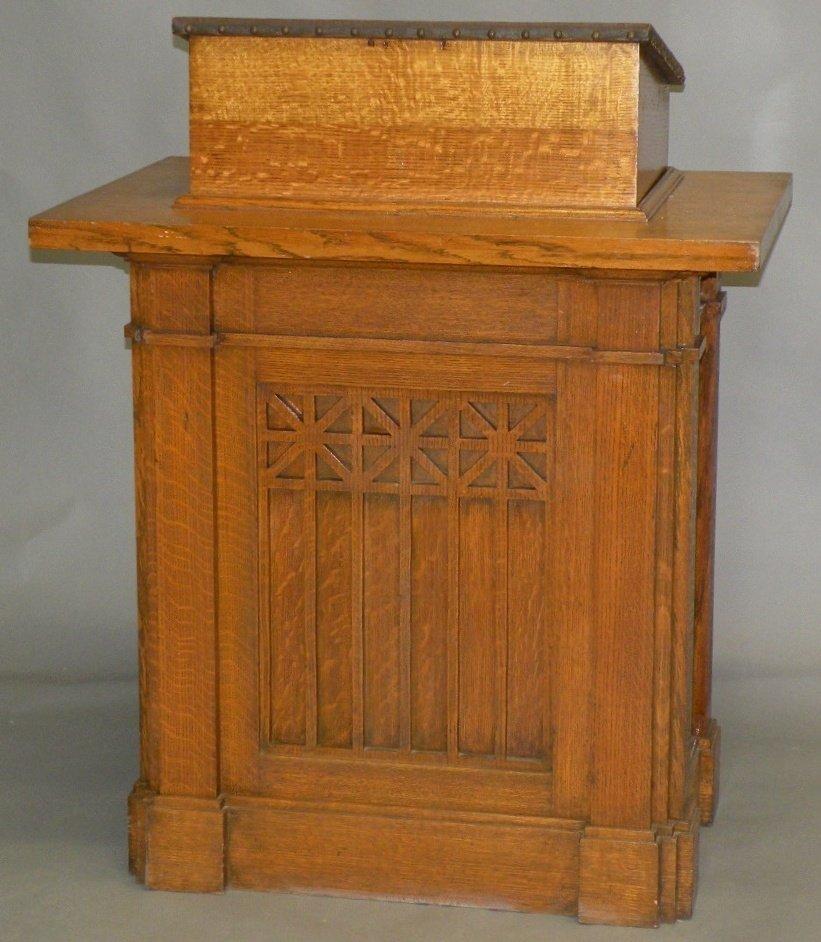 16: Oak pulpit & Sabbath School Programme sign