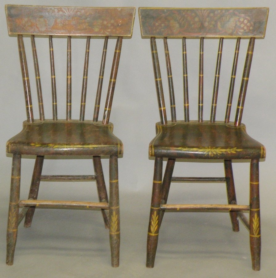17: Pair of paint decorated chairs