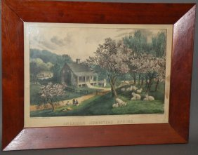 "264: Currier & Ives ""American Homestead Spring"" print"