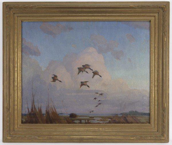"""20: Reveau Bassett (1897-1981), """"Ducks Coming In"""""""