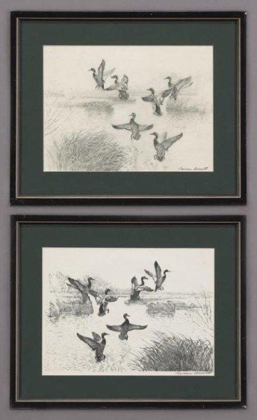 "6: Reveau Bassett (1897-1981), ""Ducks"" (1) pencil"