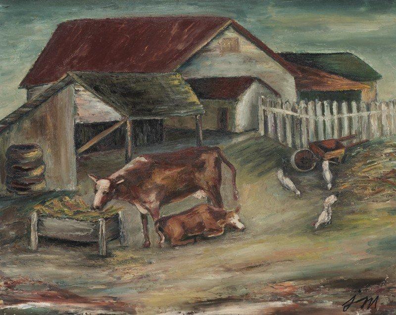 "12: Josephine Mahaffey (1903-1982), ""Farm Yard"" oil"