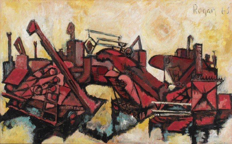 "13: Robert Rogan (20th century), ""Red Reaper"" oil on"