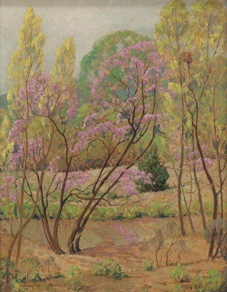 "15: Dwight C. Holmes (1900-1988), ""Red Bud"" oil on"