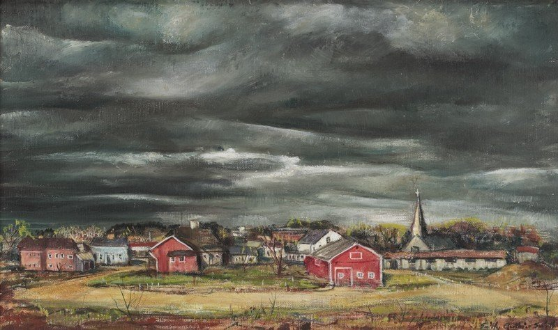"17: Emily Guthrie Smith (1909-1986), ""Texas Town"" oil"