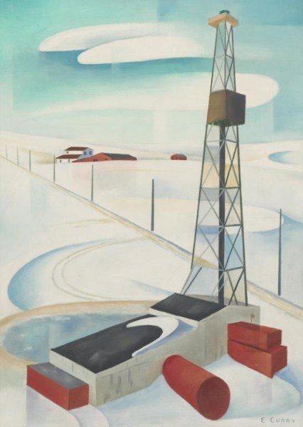 "19: Ed Curry (b. 1918-2009), ""Winter Drilling"" oil on"