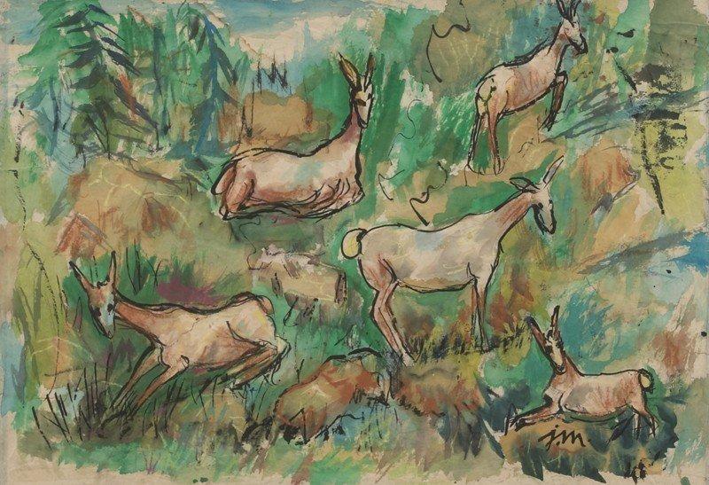 """21: Josephine Mahaffey (1903-1982), """"Deer"""" watercolor"""