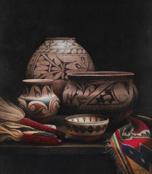 """187: Patricia Dobson (b. 1947), """"Pueblo Chiaroscurro"""""""