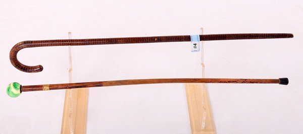 4: Two Folk Art Canes-One Grainpainted (1900), one