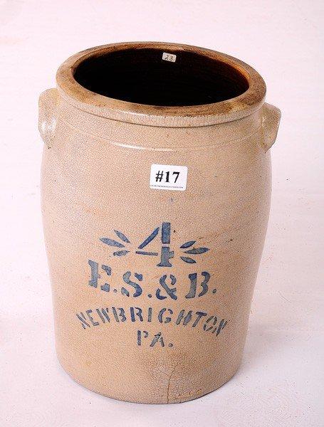 17: 4 Gal. ES & B New Brighton PA Storage Jar