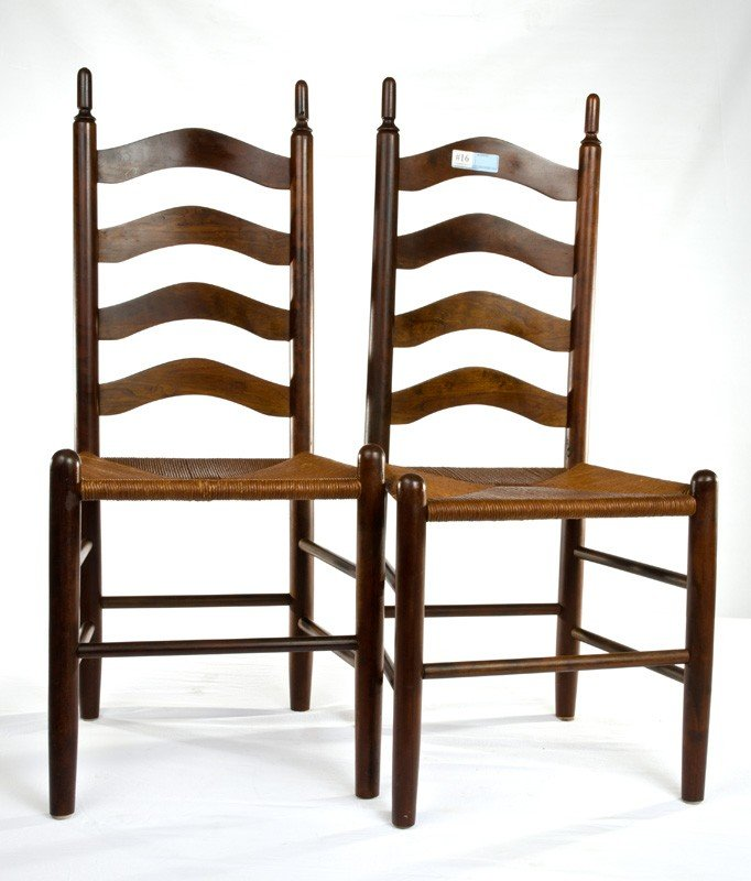 "16: Pr. Ladder Back Chairs 42"" tall"