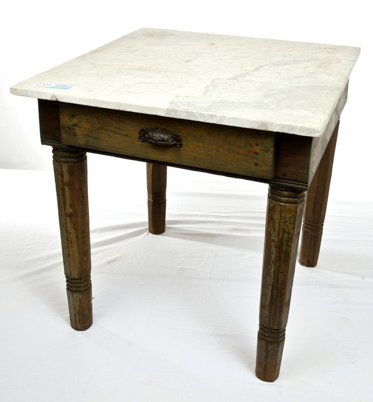 23: Marble Top Biscuit Table with rebuilt drawer