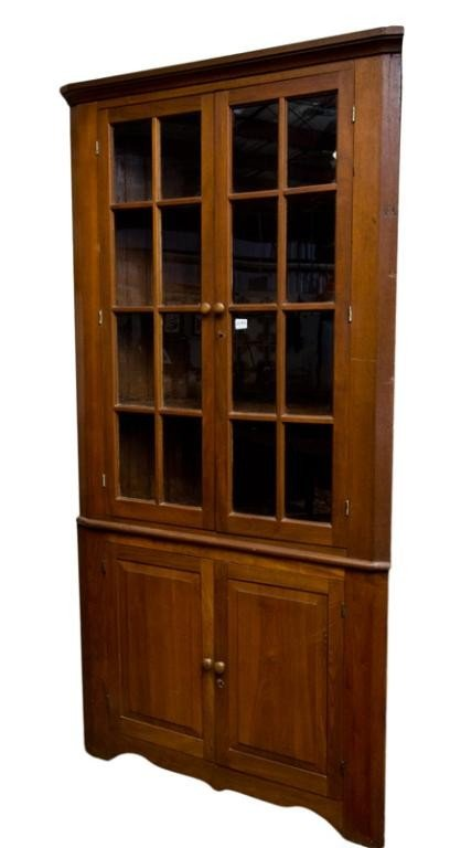 193: Walnut Corner Cupboard, 16 payne, 2 piece