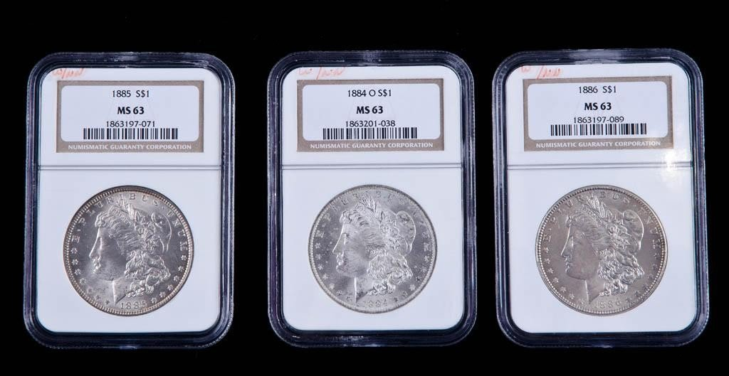 1: Three 1884o ,1885, 1886 MS 63 Morgan Silver Dollar
