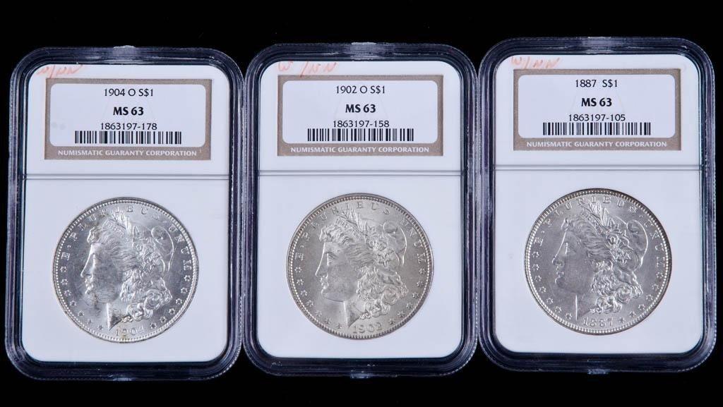 2: 1887,1902o,1904o MS63 Silver Dollars