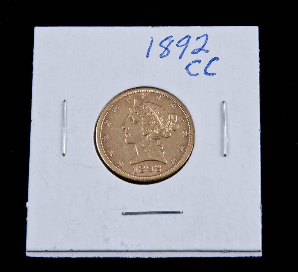 9: 1892 Carson City $5 Gold Piece