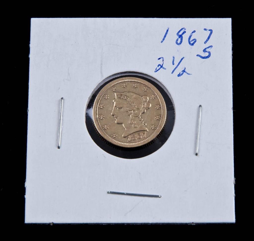 11: 1867s $2 1/2 Gold Piece
