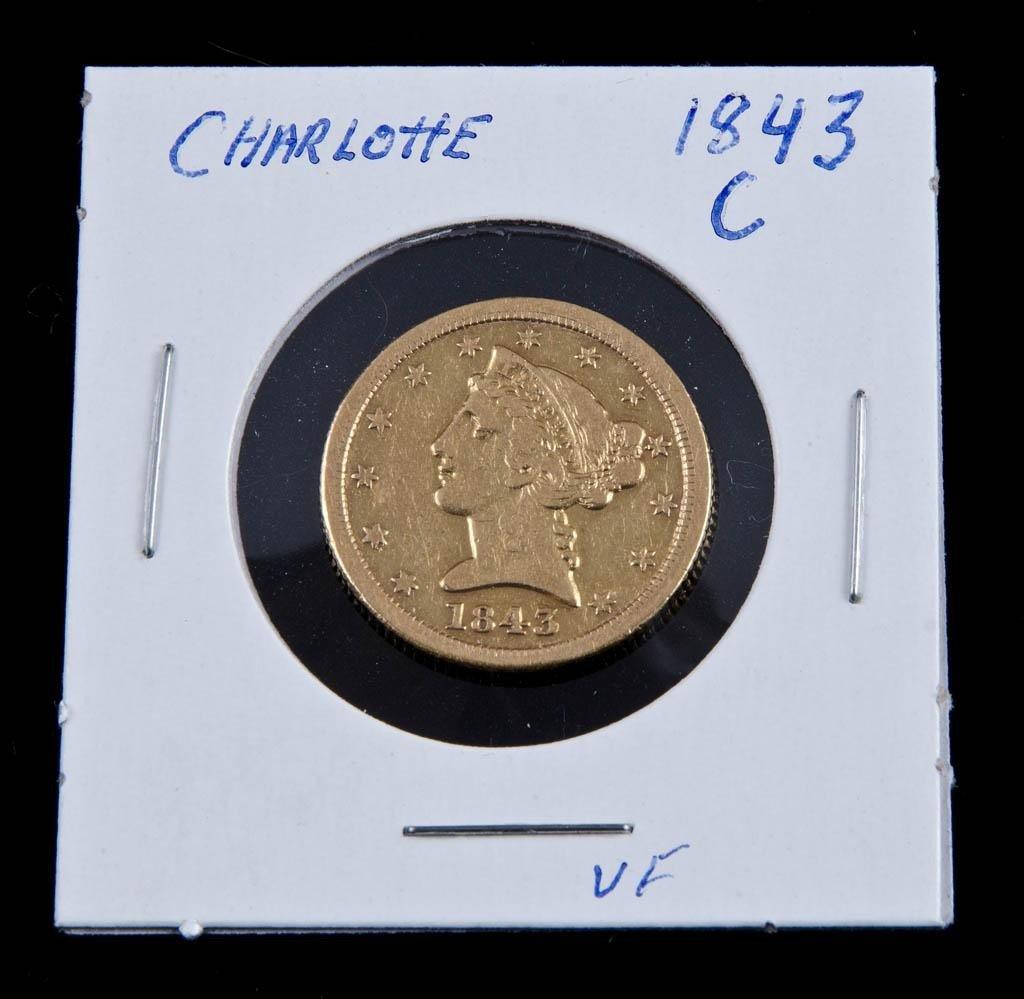 13: Charlotte 1843 $5 Gold Piece