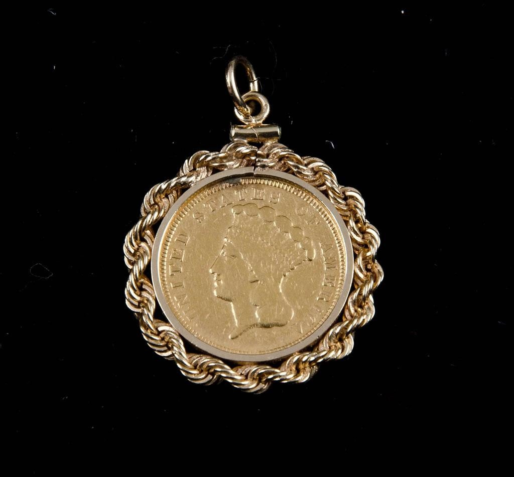 18: 1854 $3 Gold Piece with 14k Bezel
