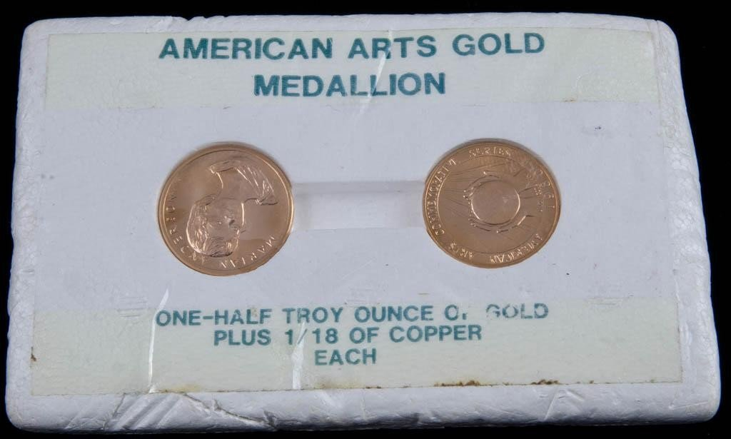19: Two one half ounce Pure Gold american Art Medallio