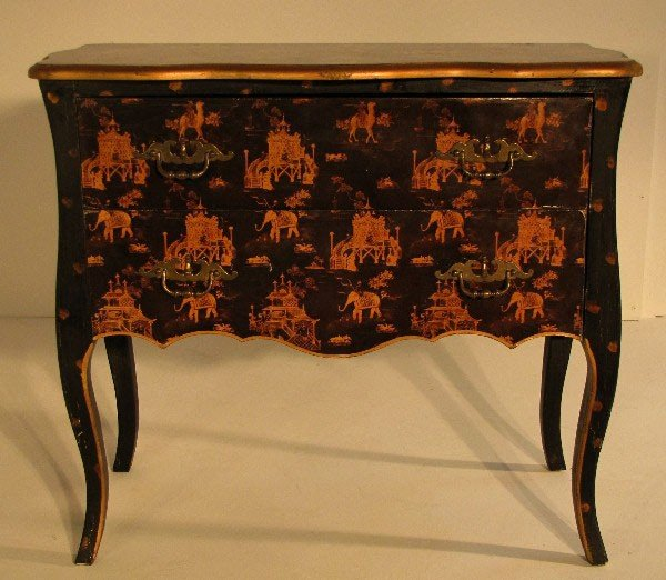 2: Chinoserie decorated black lacquer two-drawer commo