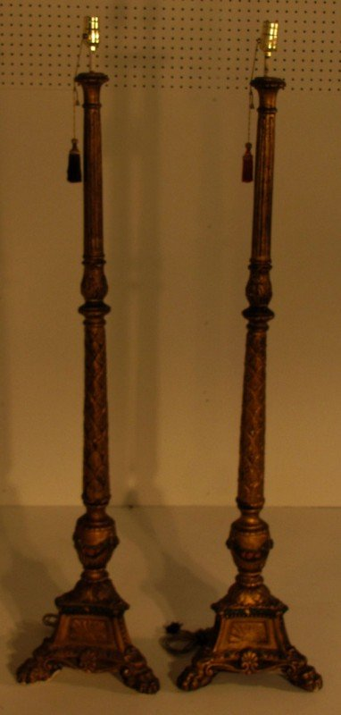 5: Pair of Continental gilt and polychrome torcheres, H