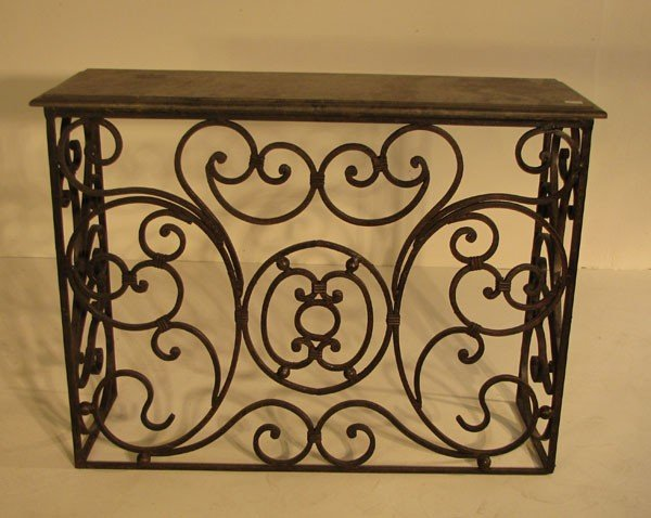 8: Continental iron and marble top console. H: 33 1/2""