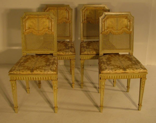 9: Set of four Louis XVI style yellow painted side chai