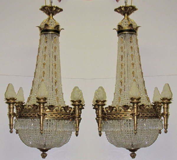 160: A Fine Pair of Empire Style bronze & crystal chand