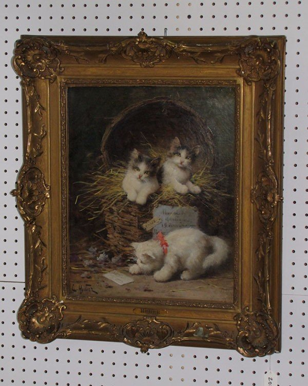 202: Leon Huber, French 1858-1928, Two kittens in a bas