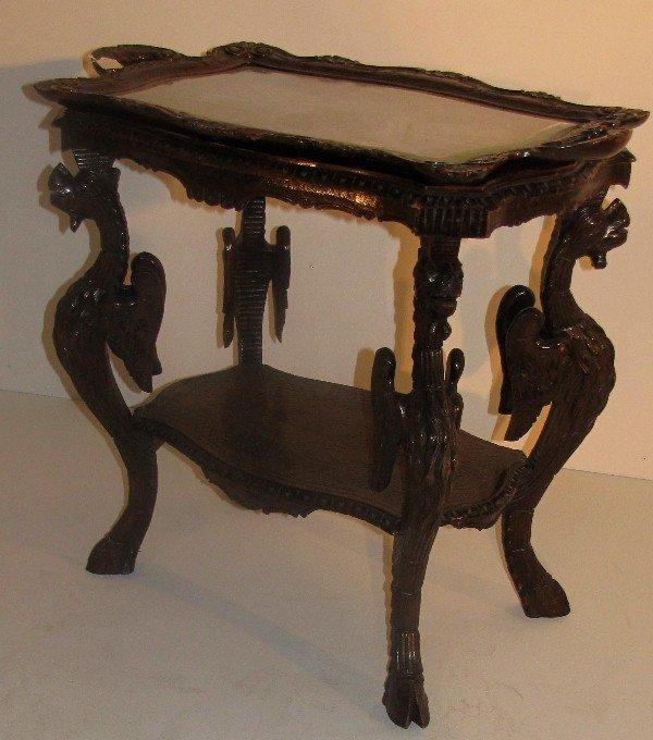 324: Italian carved walnut Renaissance style tray table