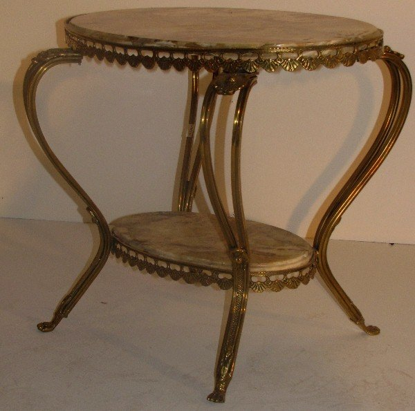 326: French Louis XV style bronze and onyx-top table. H