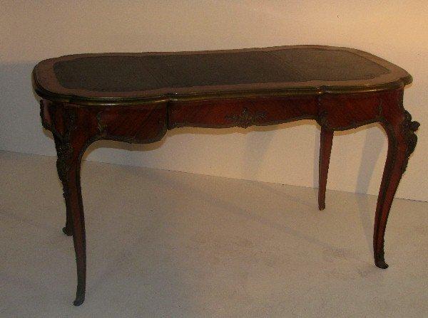 328: Louis XV style bronze-mounted kingwood bureau plat