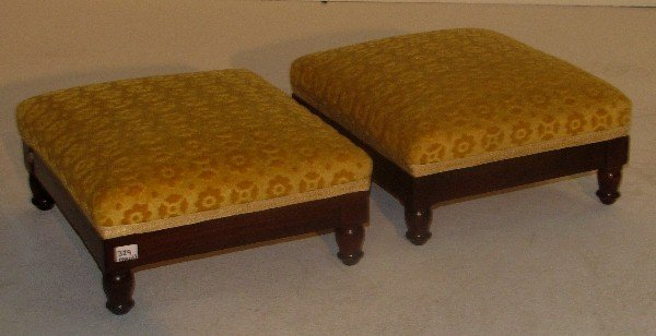 329: Pair of French Empire carved walnut footstools, si