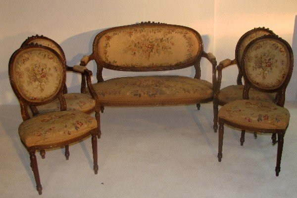 330: Five-piece Louis XVI style carved walnut and needl