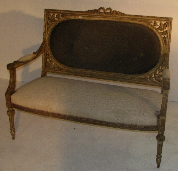 333: Louis XVI style carved beech wood settee, French l