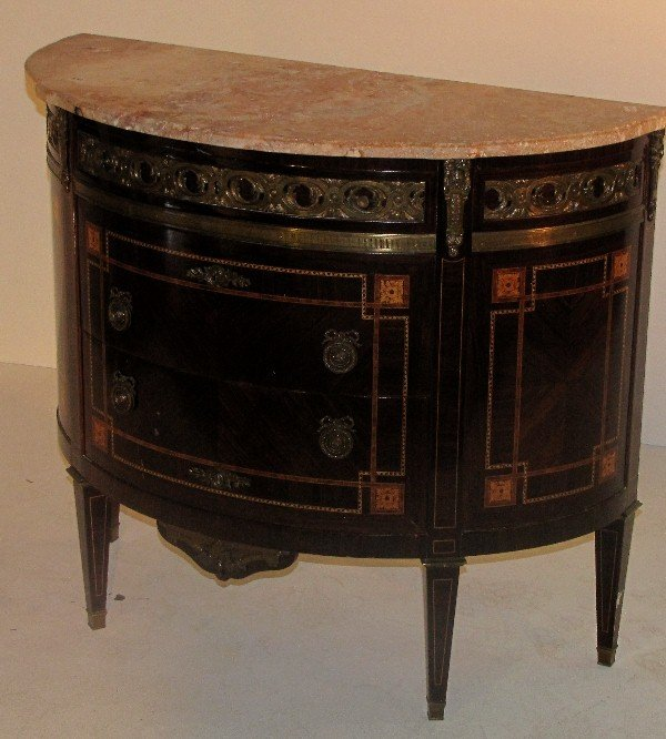 334: Louis XVI style bronze-mounted demilune three-draw